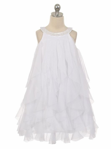 White Mesh Ruffle Dress