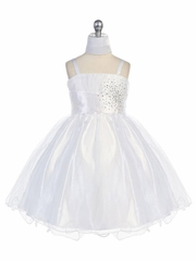 White Mini Stoned Tulle Dress