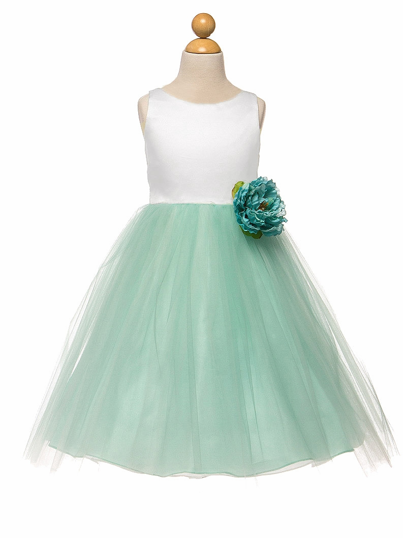 White Mint Satin Amp Tulle Dress W Flower