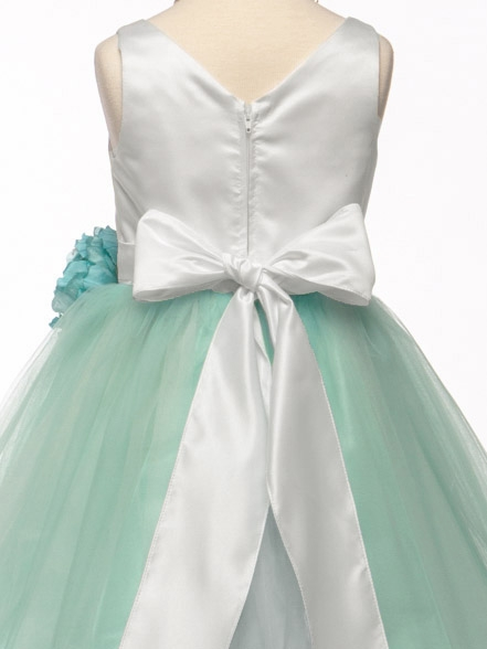 5c82a8bdc38 ... White Mint Satin   Tulle Dress w  Flower. Click to Enlarge Click to  Enlarge