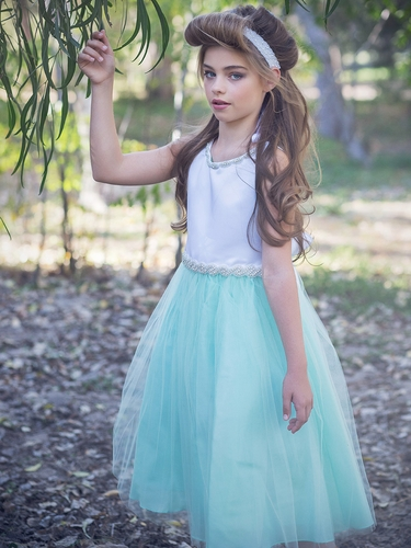 White/Mint Satin & Tulle Dress w/ Gem Neckline & Belt