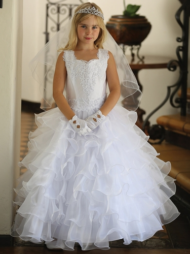 White Multi Layered Organza Ruffled Skirt w/ Embroidered Appliques & Matching Organza Bolero
