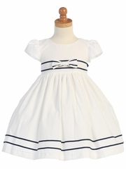 White/Navy Cotton Seersucker Dress