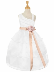 CLEARANCE - White One Shoulder Bodice w/ 3 Layered Trimmed Organza Skirt