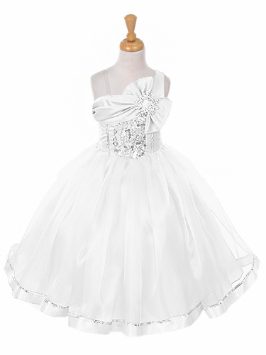 White One Shoulder Sparkle Organza Dress