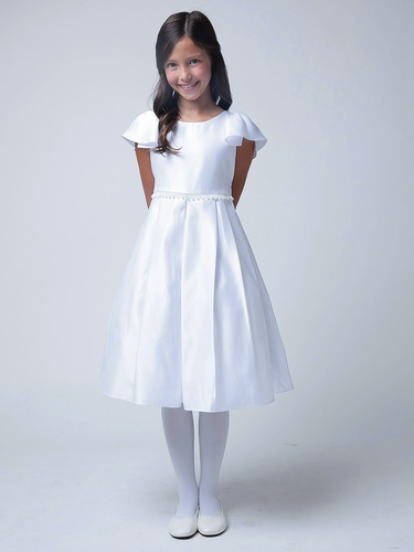 White Open Bell Sleeve w/ Teardrop Pearl Waist Dress
