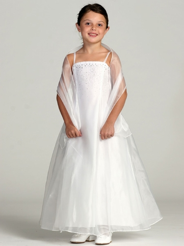 White Organza A-Line Dress w/ Shawl