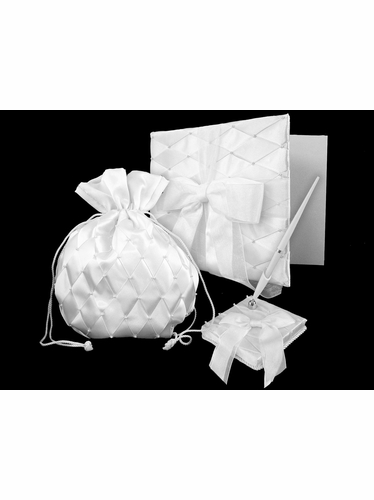 White Organza Bow & Criss Cross Pattern Wedding Collection Set