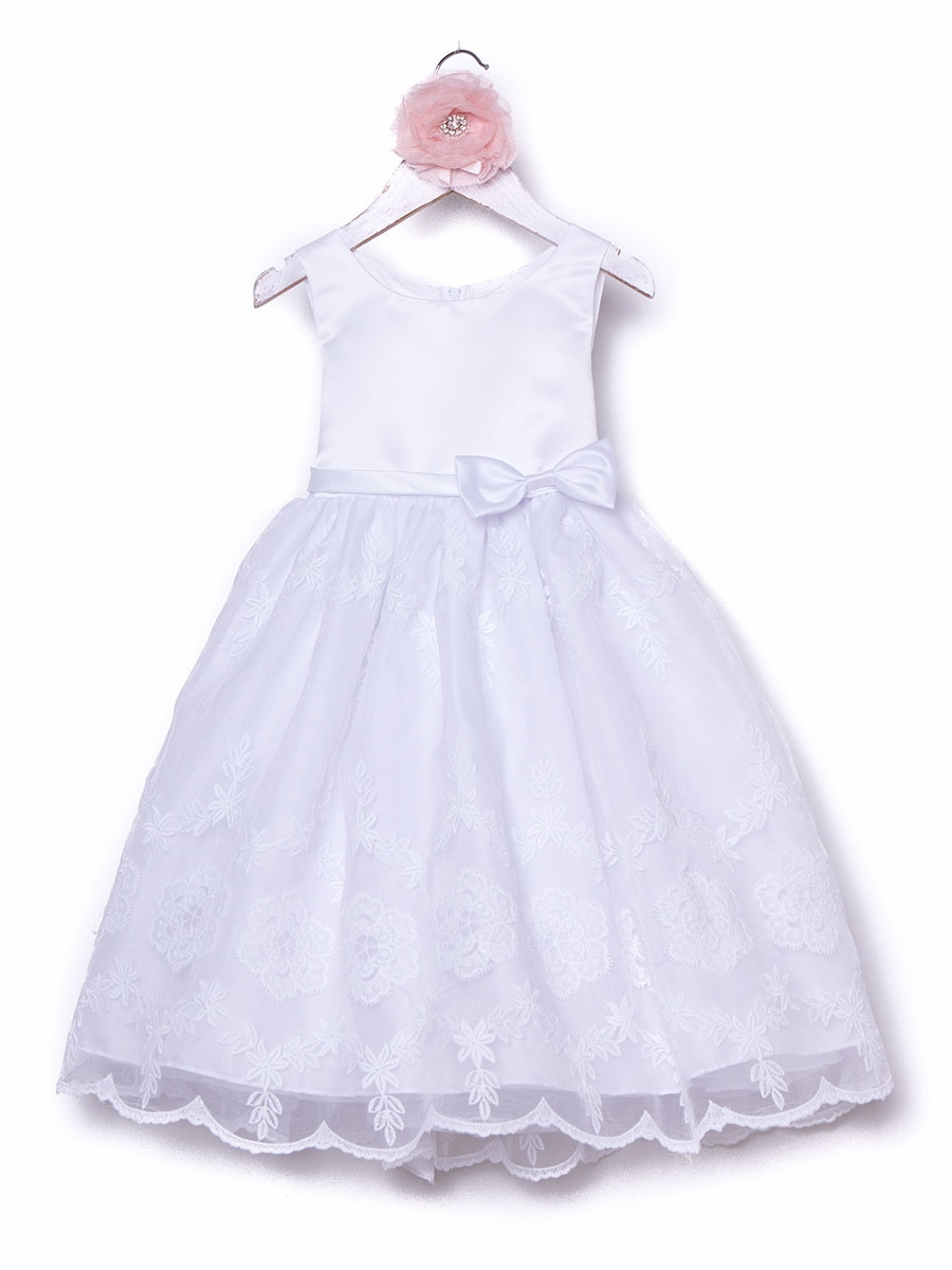 White organza floral embroidered dress