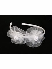 White Organza Flower Bow & Rhinestone Headband