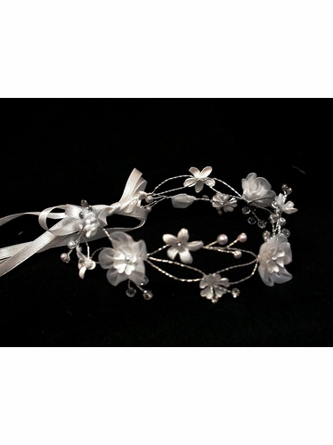 White Organza Flower Crown w/ Ribbon