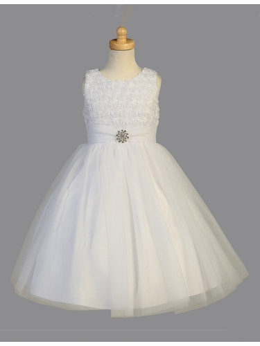 White Organza Flower w/ Pearl & Sparkling Tulle Dress