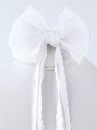 White Organza Hair Clip w/ Ribbon