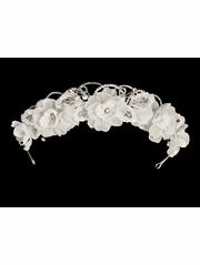 White Organza & Rhinestone Flower Headpiece