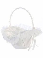 White Organza Trim w/ Butterfly Appliqu�‎s Basket