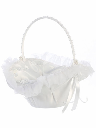 White Organza Trim w/ Butterfly Appliqué‎s Basket