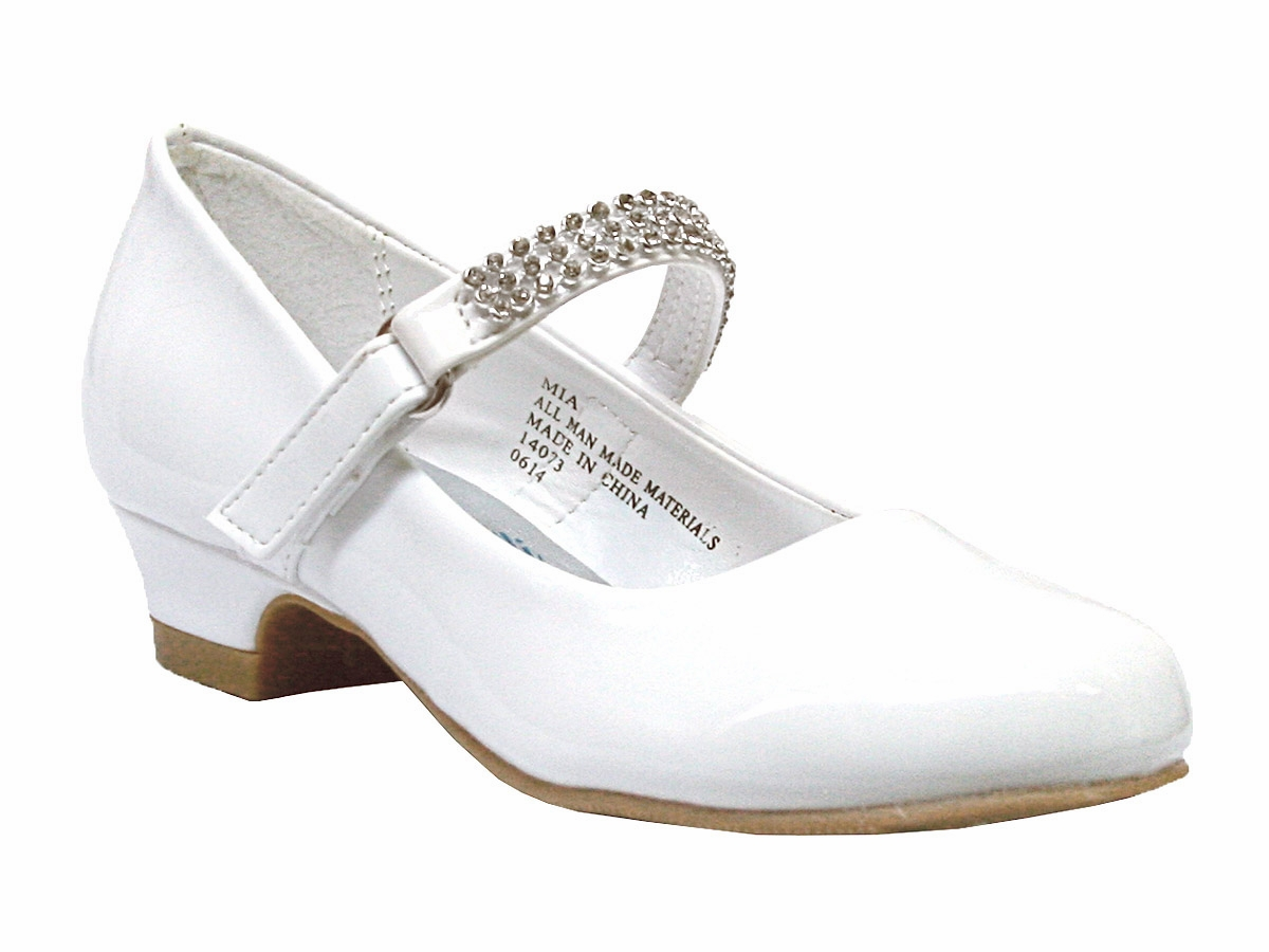 White Low Heel Girls Dress Shoe W Rhinestone Strap