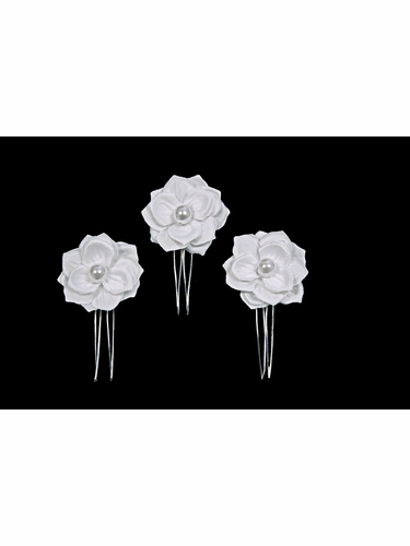 White Pearl Gardenia Mini 3 Pin Set