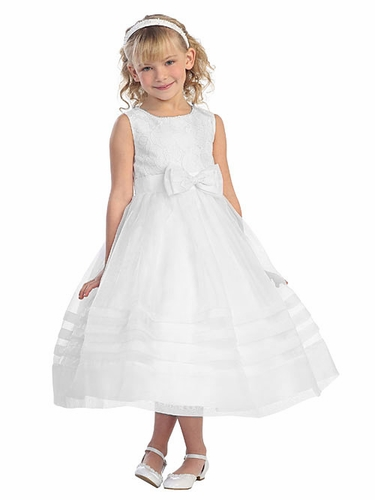 White Pearl Neckline Lace Bodice w/ Pleated Detail Skirt