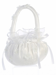 White Pearled Organza Flower Basket