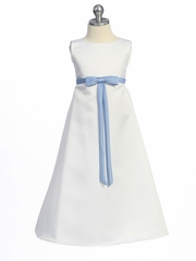 White/Periwinkle Matte Satin A-Line Dress