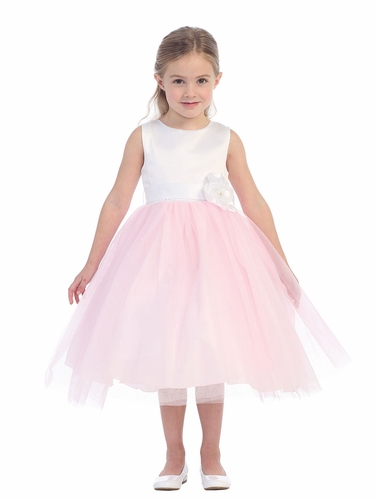 White & Pink Satin Bodice w/ Glitter Tulle Skirt Dress