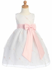 White/Pink Embroidered Organza Dress w/Taffeta Waistband & Bow