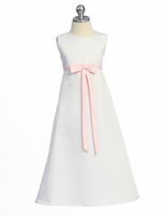 White/Pink Matte Satin A-Line Dress