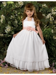 Sweet Beginnings White/Pink Chiffon Dress