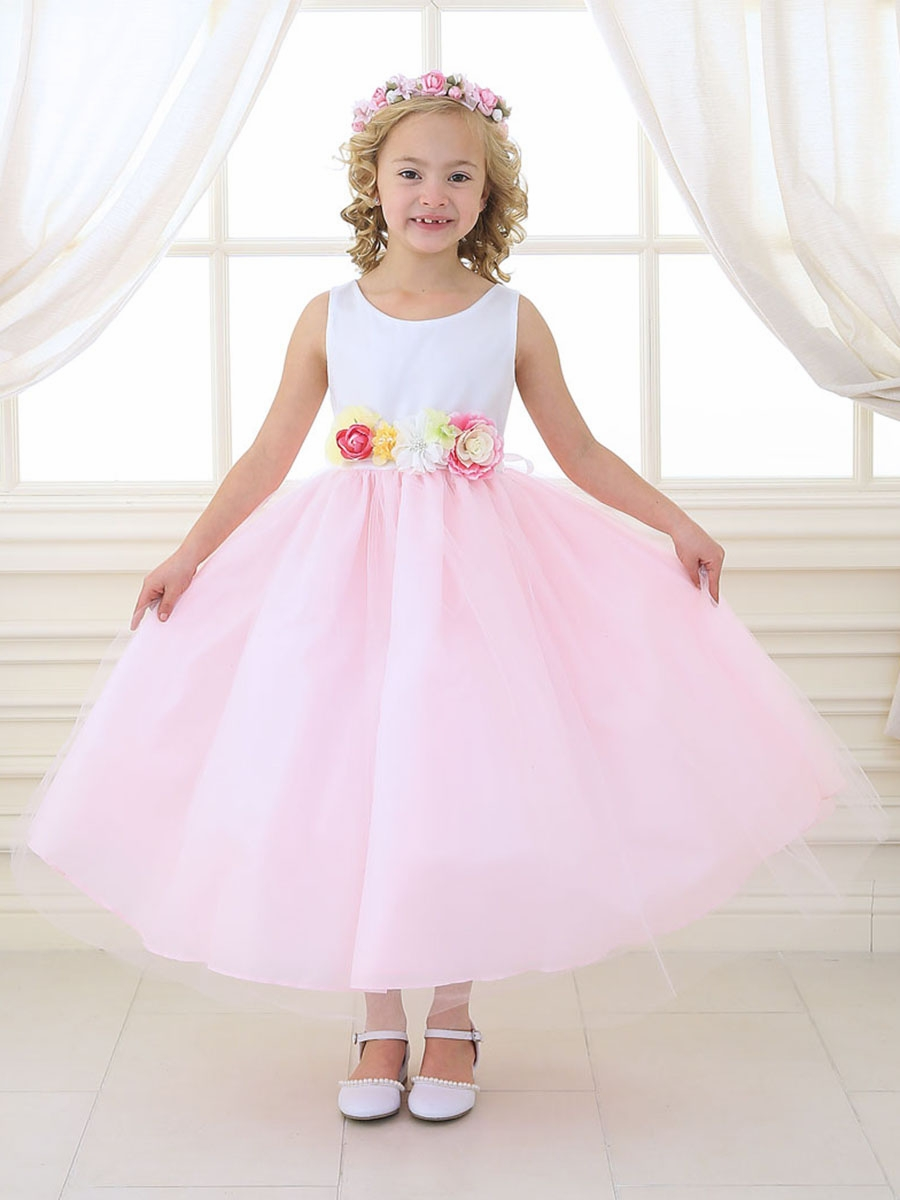 White Pink Tulle Dress W Multi Color Flower Waistband