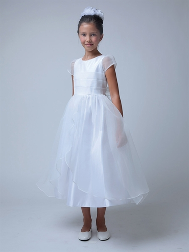 White Pleated Bodice & Crinkle Organza Communion Dress