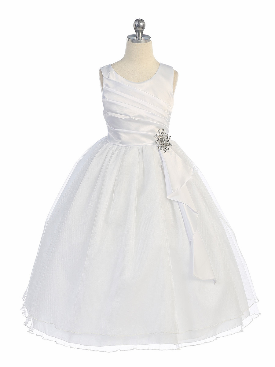 7a218ab0547 White Pleated Bodice w  Double Layer Skirt Dress