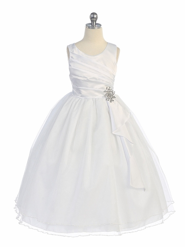 White Pleated Bodice w/ Double Layer Skirt Dress