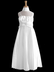 White Pleated Shiny Satin Long Dress