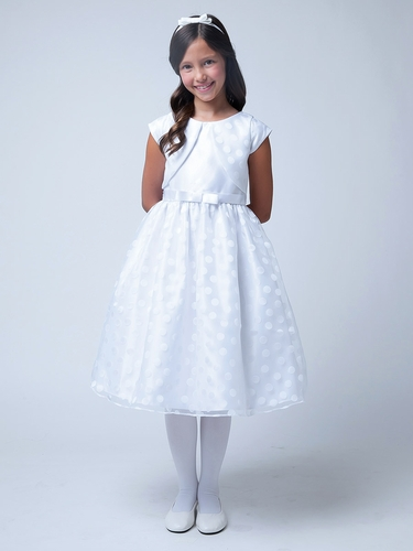 White Polka Dot Organza Burnout Dress