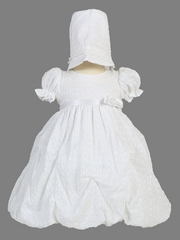 White Poly Cotton Jacquard Gathered Dress