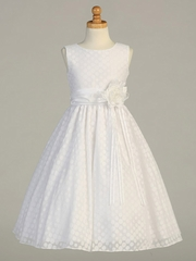 White Poly Cotton Polka Dot Burnout Dress w/ Taffeta Sash