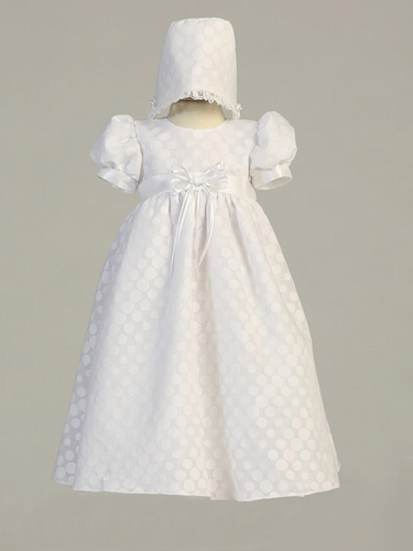 White Poly Cotton Polka Dot Dress