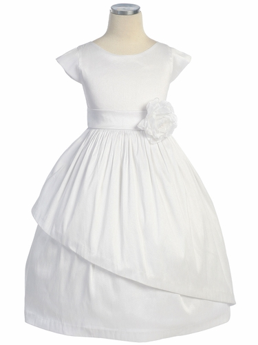 White Poly Dupioni Dress w/ Sleeves