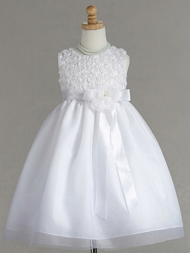 White Polyester Acetate Rose Buds Dress