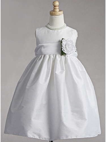 White Polyester Dupioni Dress w/ Organza Sash