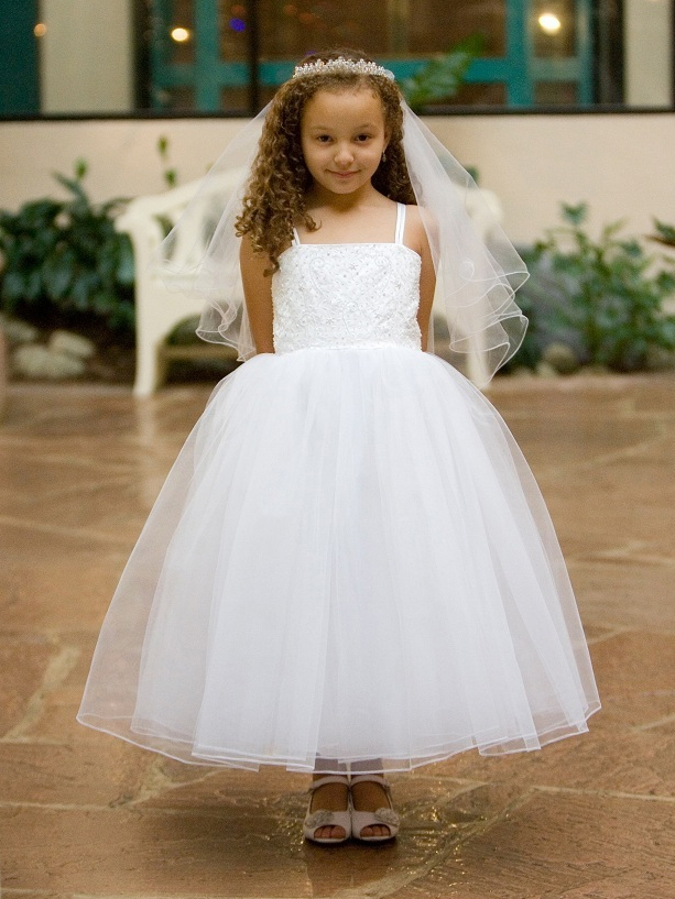 White Princess Beaded Bodice W Layered Tulle Skirt Dress