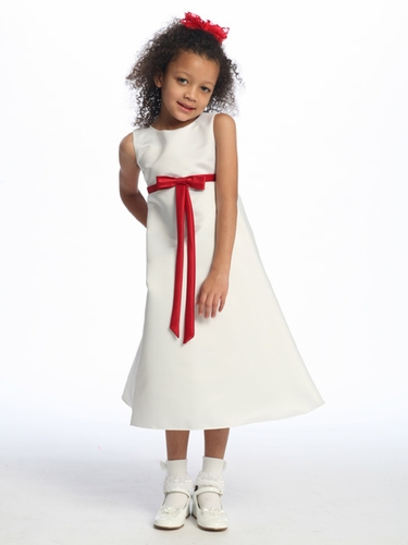 Red Flower Girl Dress - Matte Satin A-Line Dress