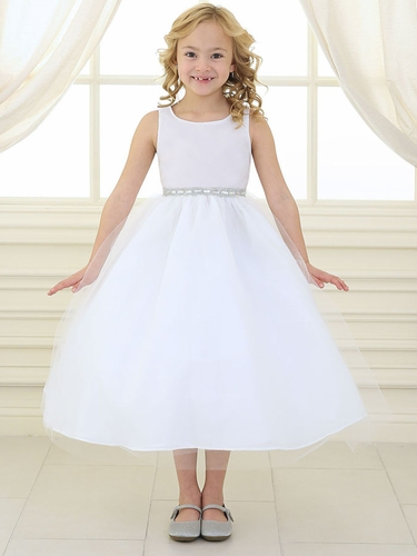 White Rhinestone Waistband Tulle Dress