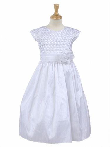 White Ribbon Bodice Taffeta Dress