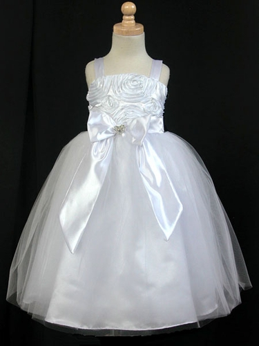 White Ribbon Embroidered Taffeta Bodice & Satin Skirt w/Tulle Overlay