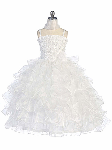 White Ribbon Roses Sparkle Bodice w/ Layered Organza Skirt