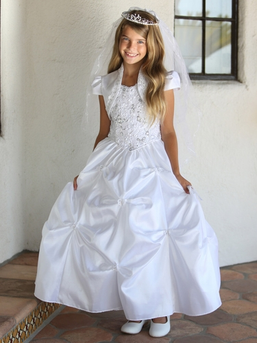White Ribbon Sequin Bodice Taffeta Communion Dress w/ Gathers & Matching Bolero