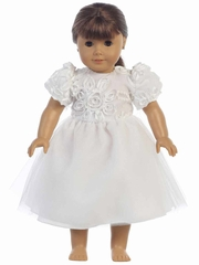White Ribbon & Sequins Embroidered Bodice Tulle Dress for 18� Doll