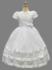 White Ribbon Trim & Embroidery Dress w/ Layered Tulle Skit